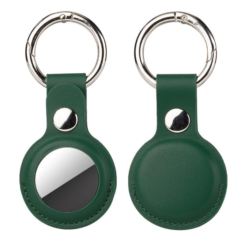wholesale leather airtag key ring -lovingcase - dark green