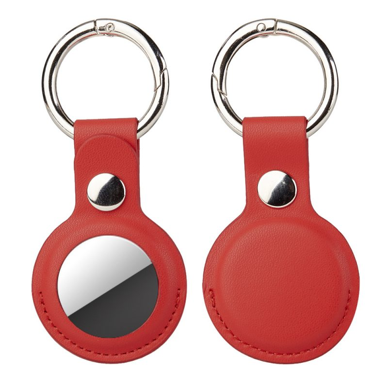 wholesale leather red airtag key ring -lovingcase