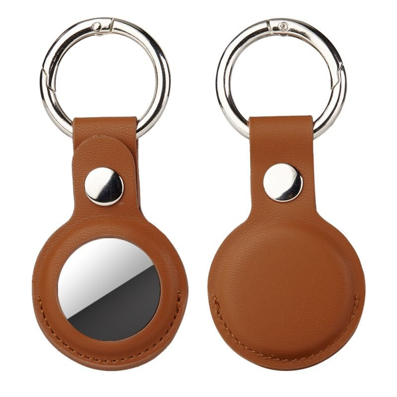wholesale leather red airtag key ring -lovingcase - camel