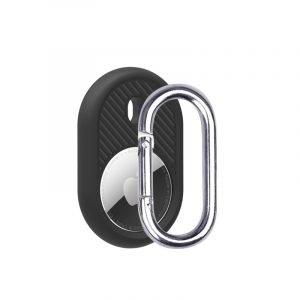 LOVINGCASE wholesale silicone airtag holder with key ring- black- bulk buy