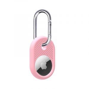 LOVINGCASE wholesale silicone airtag holder with key ring- pink- bulk buy