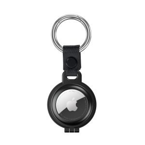 bulk buy airtag metal case with stainless stell key ring 4 colors- black