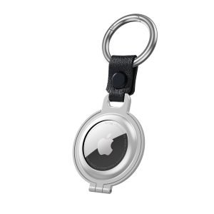 bulk buy airtag metal case with stainless stell key ring 4 colors - silver