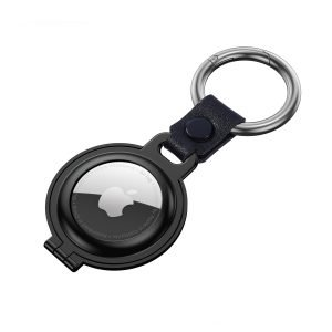 bulk buy airtag metal case with stainless stell key ring black 4