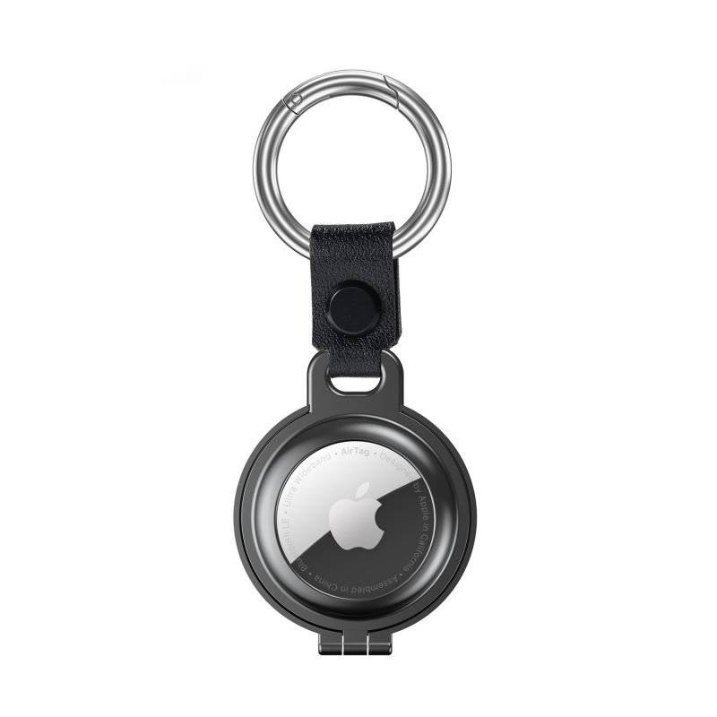 bulk buy airtag metal case with stainless stell key ring -dark grey