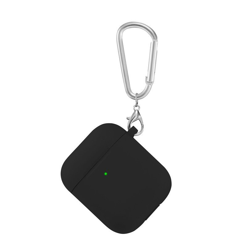 lovingcase bulk sell thick silicone airpods 2 covers with keychain - black