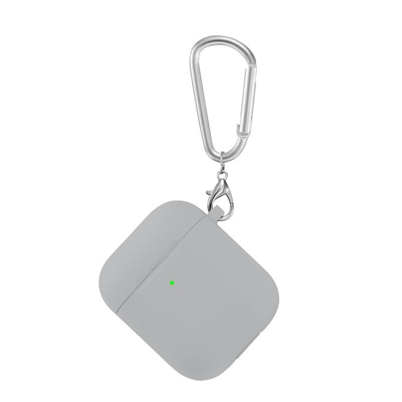 lovingcase bulk sell thick silicone airpods 2 covers with keychain - grey