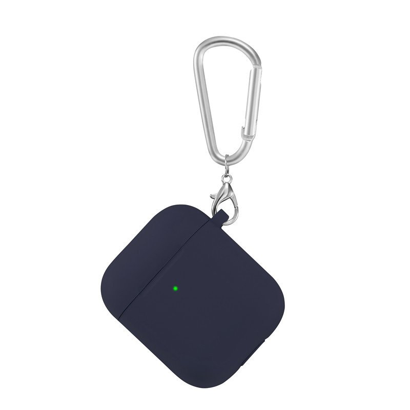 lovingcase bulk sell thick silicone airpods 2 covers with keychain - navy