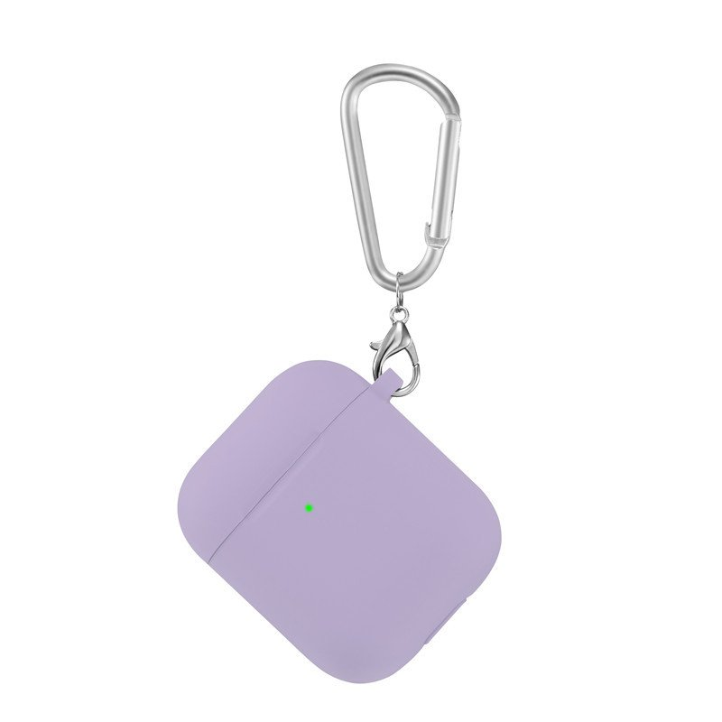 lovingcase bulk sell thick silicone airpods 2 covers with keychain - purple