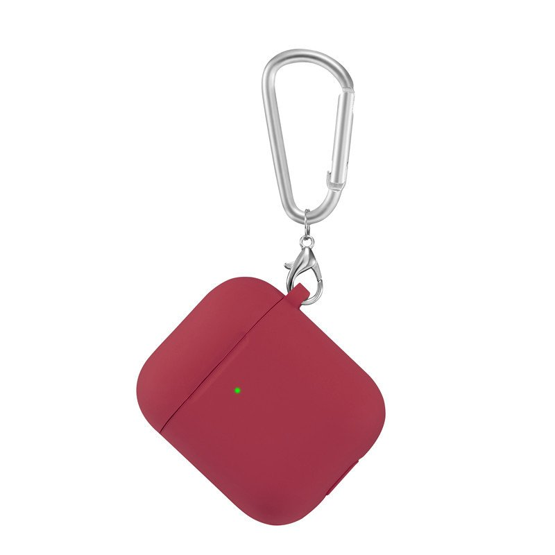 lovingcase bulk sell thick silicone airpods 2 covers with keychain - wine