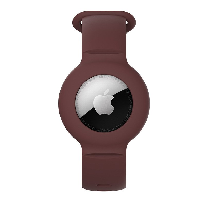 lovingcase wholesale silicone airtag watch band holder - brown 1