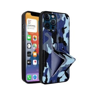 lovingcase wholessle camouflage pattern iphone case with grip stand-blue
