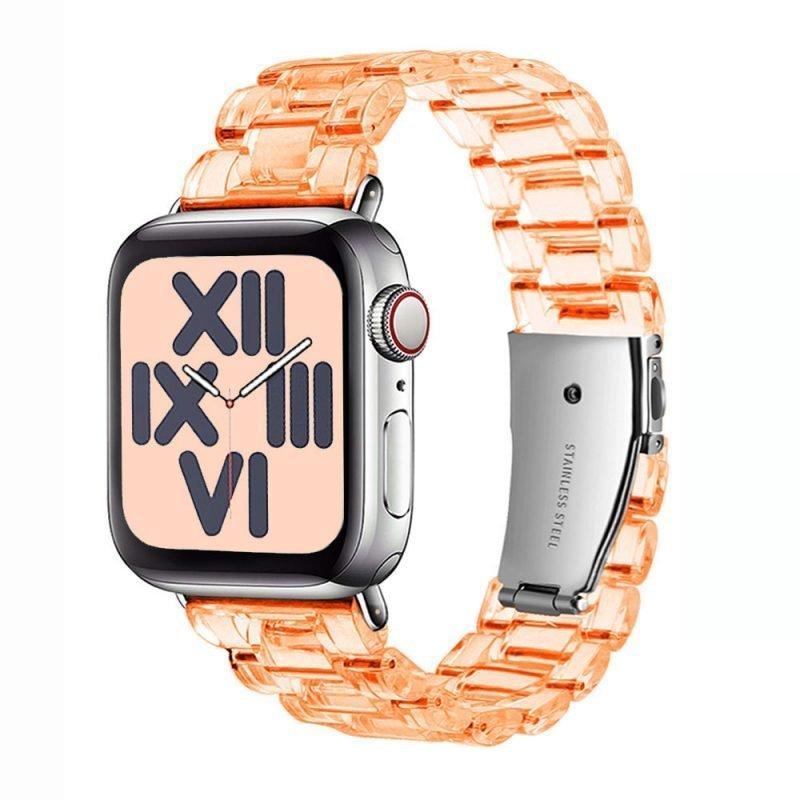 wholesale clear resin apple watch band-orange - lovingcase
