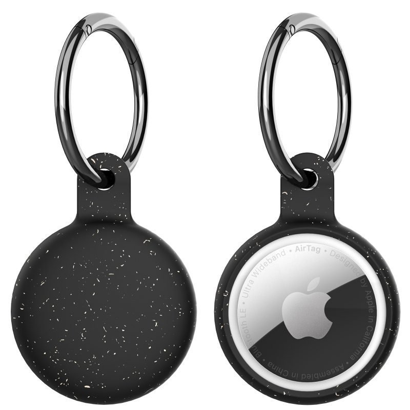wholesale eco-friendly compostable airtag holder with key ring - lovingcase - black