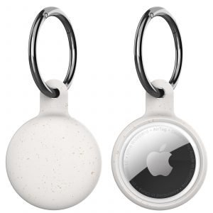wholesale eco-friendly compostable airtag holder with key ring - lovingcase - ivory