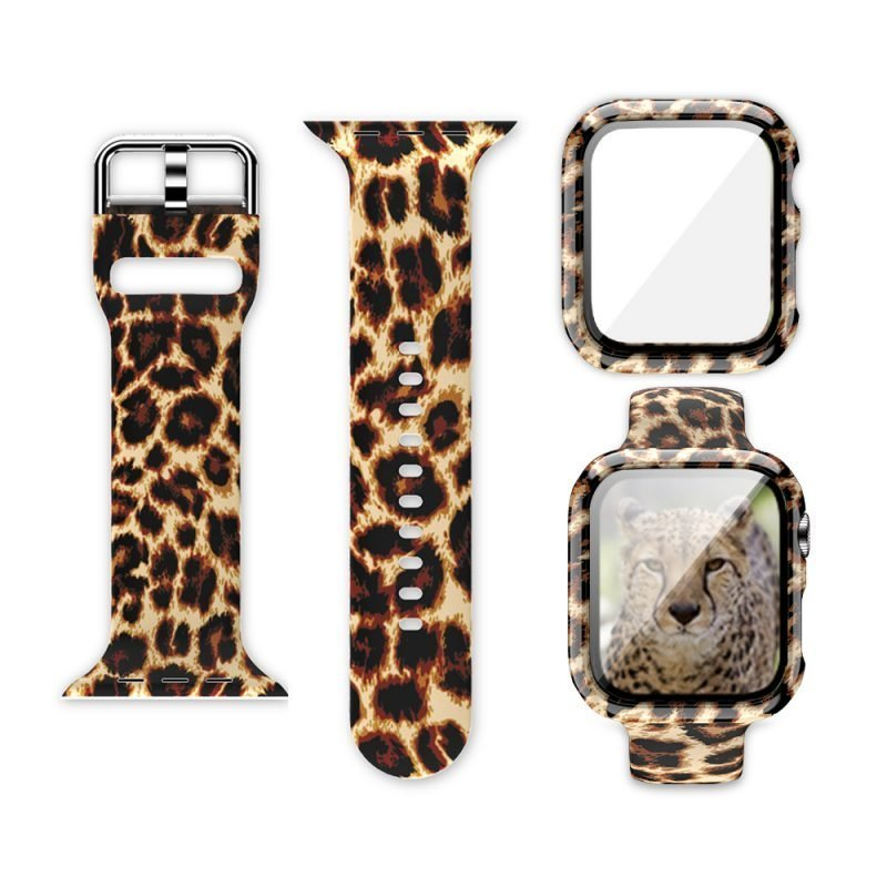 wholesale silicone apple watch band with printed pattern & screen case- brown leopard