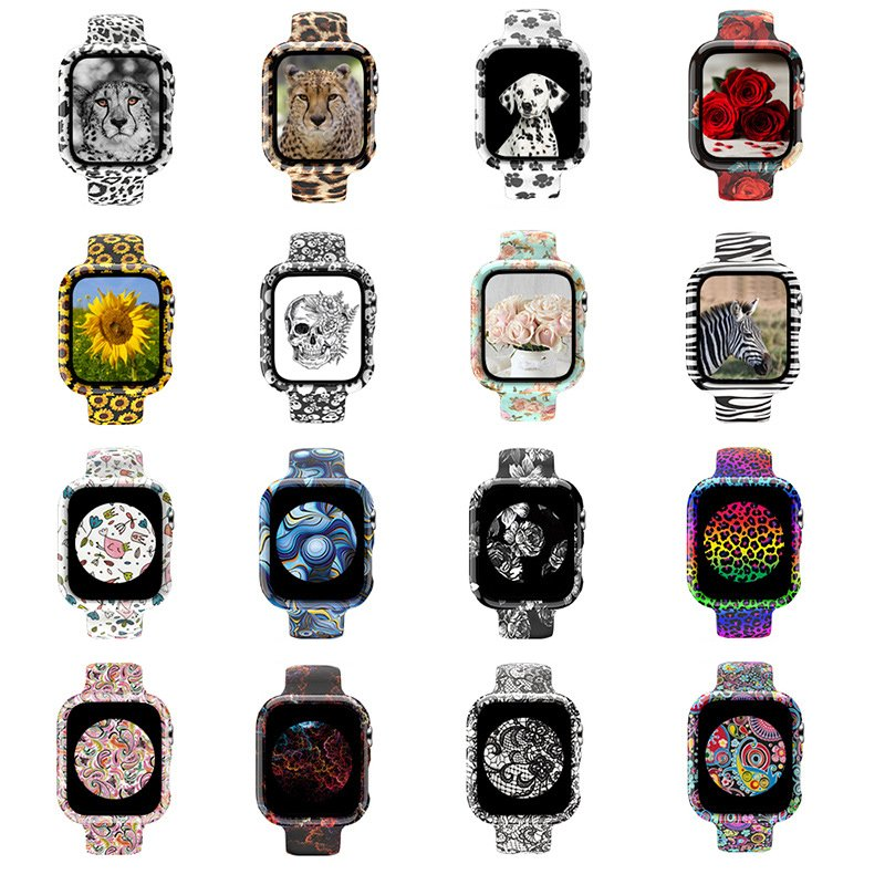 wholesale silicone apple watch band with printed pattern & screen case- family