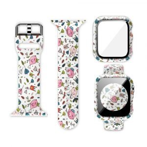 wholesale silicone apple watch band with printed pattern & screen case- floral and bird