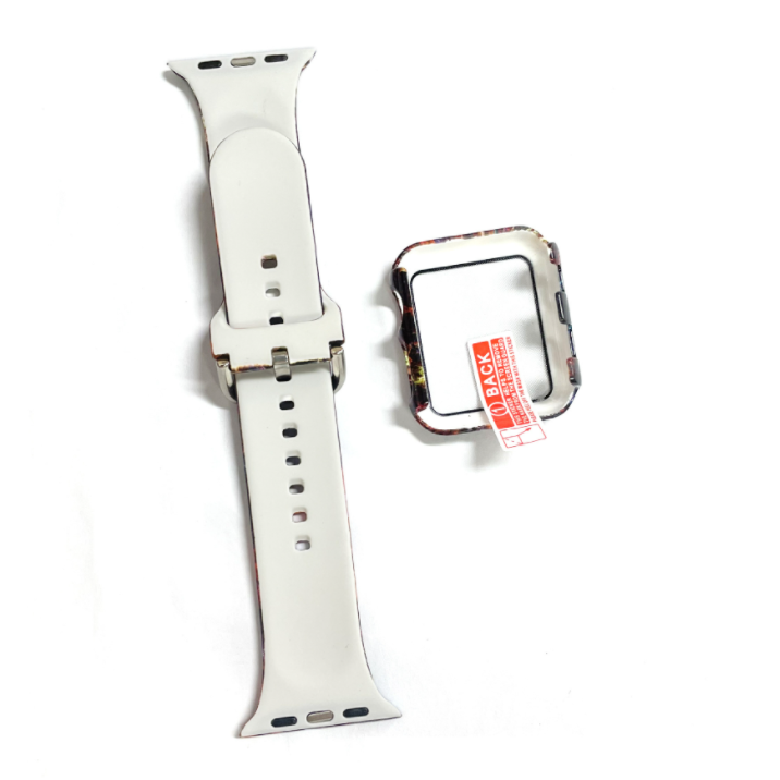 wholesale silicone apple watch band with printed pattern & screen case- galaxy 2