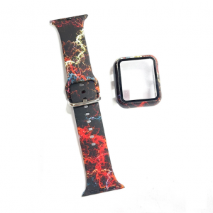 wholesale silicone apple watch band with printed pattern & screen case- galaxy