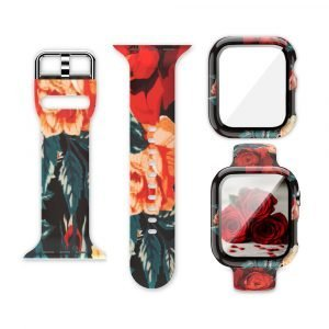 wholesale silicone apple watch band with printed pattern & screen case- rose
