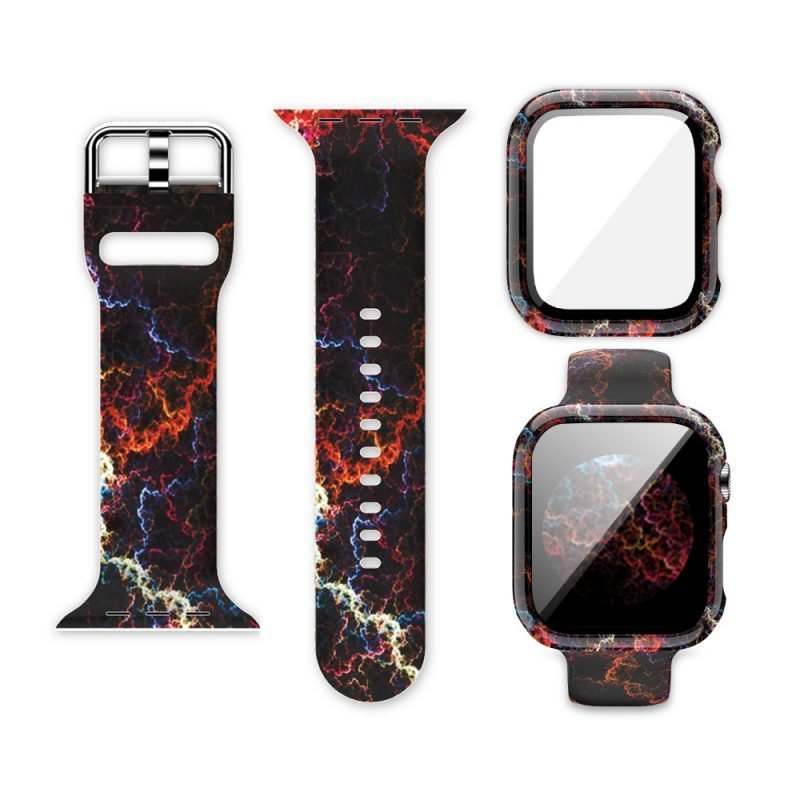 wholesale silicone apple watch band with printed pattern & screen case- space galaxy