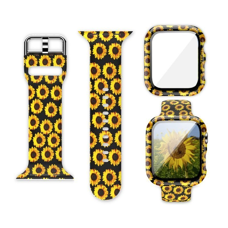 wholesale silicone apple watch band with printed pattern & screen case- sunflower