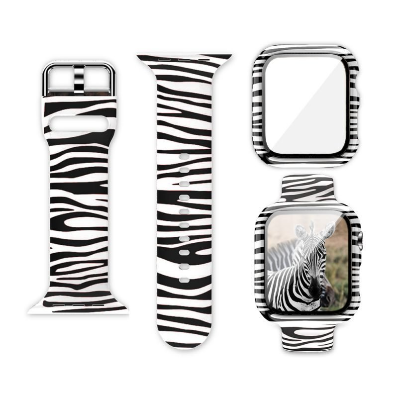 wholesale silicone apple watch band with printed pattern & screen case- zebra